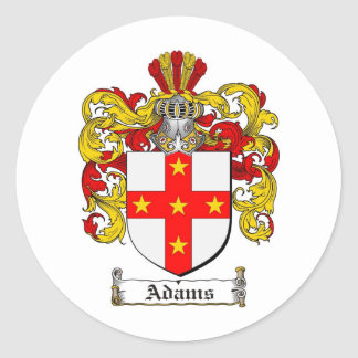 ADAMS FAMILY CREST -  ADAMS COAT OF ARMS ROUND STICKER