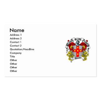 Adams Family Crest Business Card
