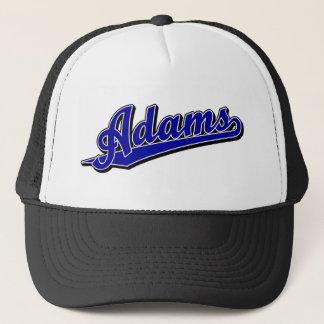 Adams script logo in Blue Trucker Hat