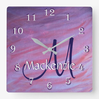 Adaptable Decor | Name Pink Purple Zebra Abstract Square Wall Clock