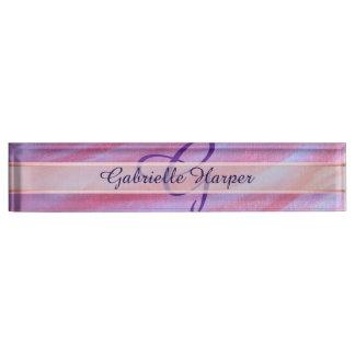 Adaptable Desk | Chic Pink Purple Zebra Stripe Nameplate