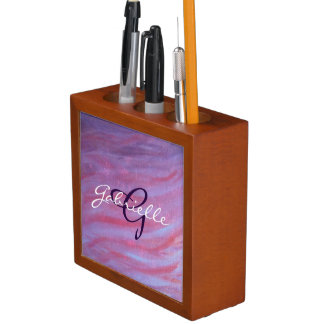 Adaptable Desk | Name Pink Purple Zebra Stripe Desk Organizer