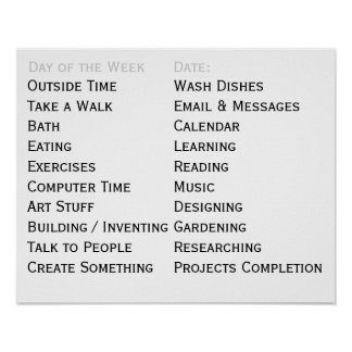 Adaptive Living Tool Daily Tasks Chores To Do List Poster