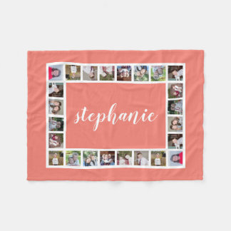 Add 11 Photos with coral peach border and name Fleece Blanket