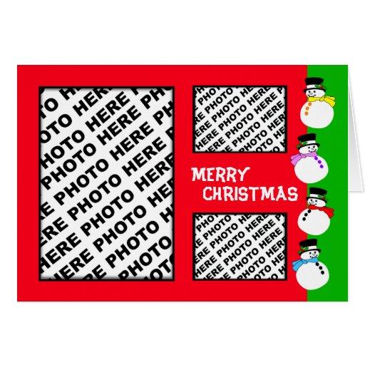 Add 3 Photos In One Christmas Card Snowman