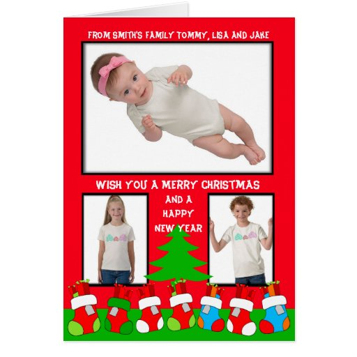 Add 3 Photos In One Christmas Card Stocking
