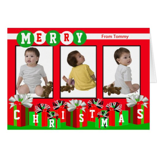 Add 3 Photos In One Merry Christmas Card Red Gift