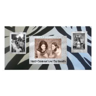 Add 3 Three photos Christmas Card Zebra Print Photo Card