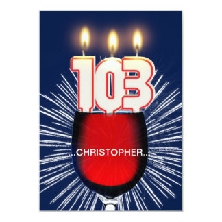 Add a name, 103rd Birthday party Invitation, wine Card