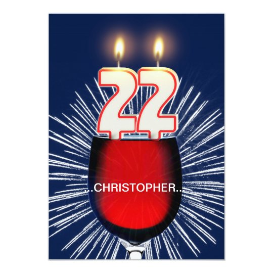 Add a name, 22nd Birthday party Invitation, wine Card