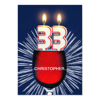 Add a name, 33rd Birthday party Invitation, wine Card