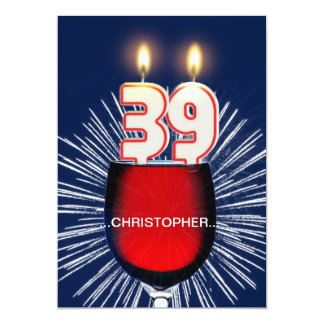 Add a name, 39th Birthday party Invitation, wine Card