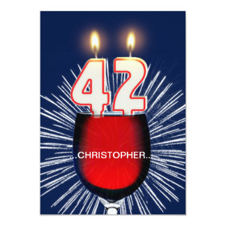 Add a name, 42nd Birthday party Invitation, wine Card