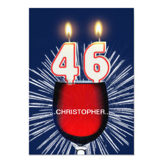 Add a name, 46th Birthday party Invitation, wine Card