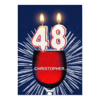Add a name, 48th Birthday party Invitation, wine Card