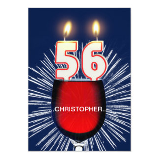 Add a name, 56th Birthday party Invitation, wine Card