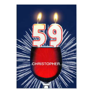 Add a name, 59th Birthday party Invitation, wine Card