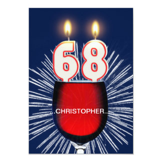 Add a name, 68th Birthday party Invitation, wine Card