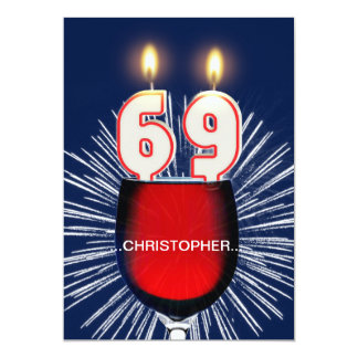 Add a name, 69th Birthday party Invitation, wine Card