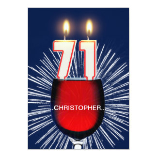 Add a name, 71st Birthday party Invitation, wine Card