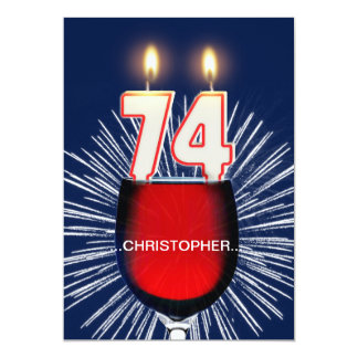 Add a name, 74th Birthday party Invitation, wine Card
