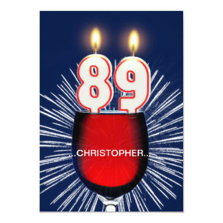 Add a name, 89th Birthday party Invitation, wine Card