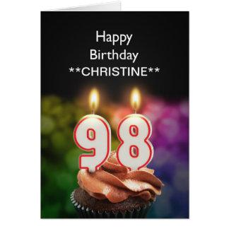 Add a name, 98th birthday card