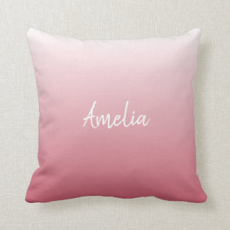 Add a name Ombre salmon pink Throw Pillow