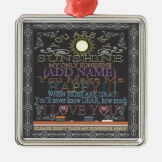 Add a Name Sunshine Chalkboard Silver-Colored Square Ornament