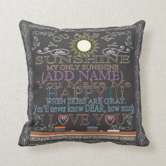 Add a Name Sunshine Vintage Chalkboard Throw Pillow