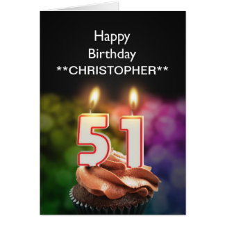Add a name to this 51st birthday card candles