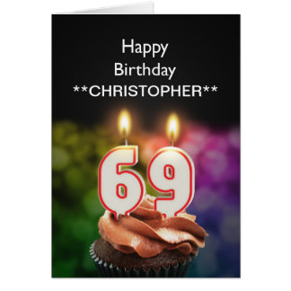 Add a name to this 69th birthday card candles