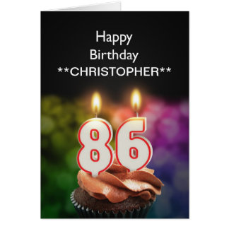 Add a name to this 86th birthday card candles