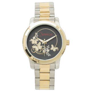 Add a name watch with gold butterflies and flowers