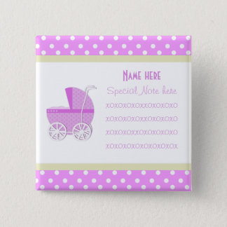 Add A Note Pink Baby Carriage Button