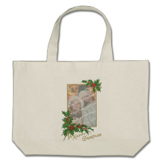 Add-A-Photo Christmas Vintage Gold & Holly Berries Canvas Bags