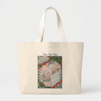 Add-A-Photo Christmas Vintage Joyful Yuletide Tote Bags