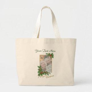 Add-A-Photo Vintage Happy Christmas Jumbo Tote Bag