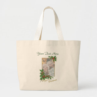 Add-A-Photo Vintage Happy Christmas NEW Large Tote Bag