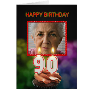 Add a picture, 90th Birthday card with Candles