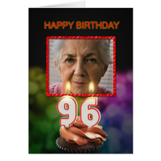 Add a picture, 96th Birthday card with Candles