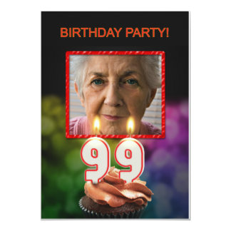 Add a picture, 99th Birthday party Invitation