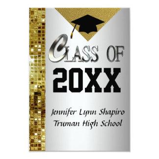 Add Any Year Silver & Gold Graduation Invitations