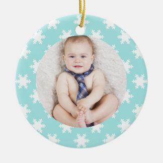 Add custom photo Christmas snowflakes blue Ceramic Ornament