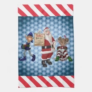 "Add Family Name ""Santa's Nice List"" Kitchen Kitchen Towel"