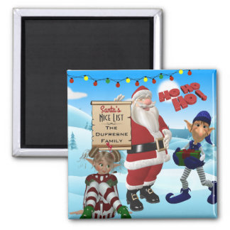 """Add Family Name """"Santa's Nice List"""" Northpole Magnet"""
