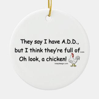 ADD Full of Chickens Round Ceramic Ornament