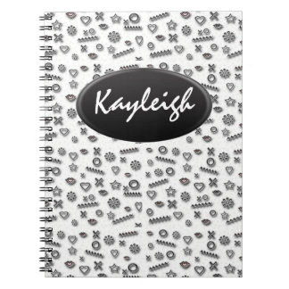 Add Her Name Black and White Designer Notebook
