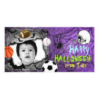 Add Image Sport Halloween Photo Card Purple