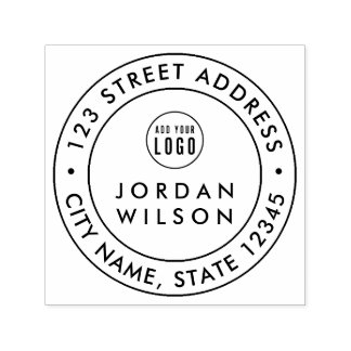 Add Logo Round Double Border Modern Return Address Self-inking Stamp